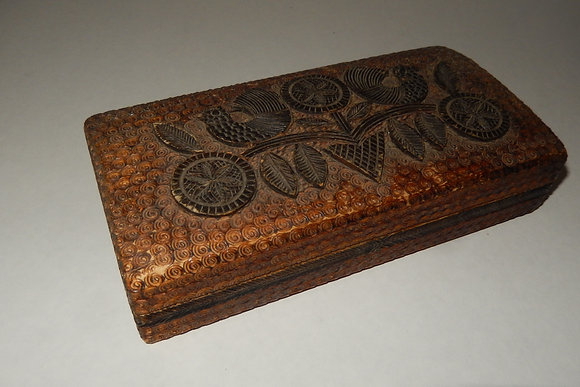 Vintage Decorative Hand Carved Wooden Jewelry Box