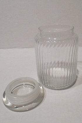 Ribbed Glass Storage Jar