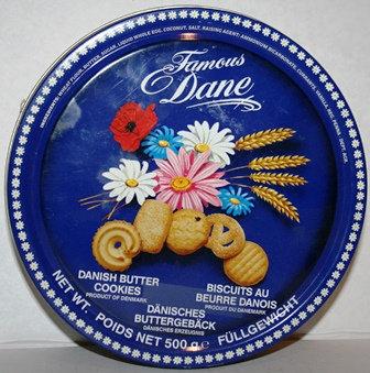 Danish Butter Cookies Blue Dane Tin