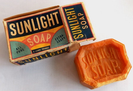 Vintage Sunlight Soap Box with Soap Laundry Advert
