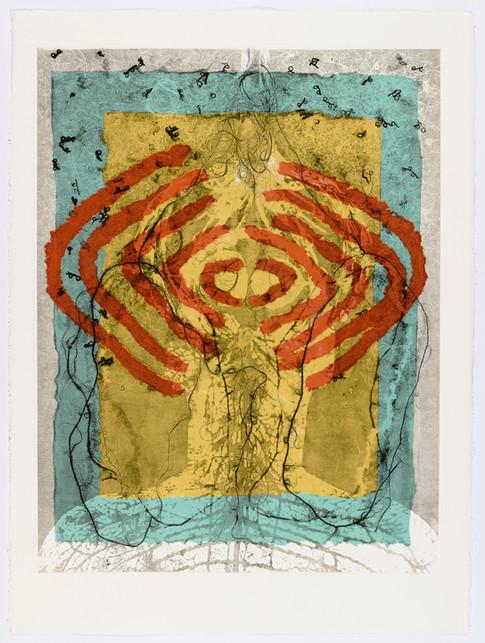 "Andrew Carnie and Susan Aldworth, ""Enlightenment no 15"" 2015, monotype print, 80cm x 70cm"