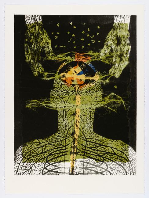 "Andrew Carnie and Susan Aldworth, ""Enlightenment no 10"" 2015, monotype print, 80cm x 70cm"