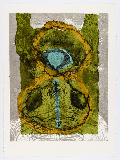 "Andrew Carnie and Susan Aldworth, ""Enlightenment no 21"" 2015, monotype print, 80cm x 70cm"