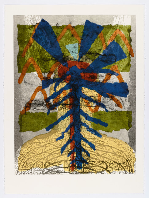 "Andrew Carnie and Susan Aldworth, ""Enlightenment no 11"" 2015, monotype print, 80cm x 70cm"