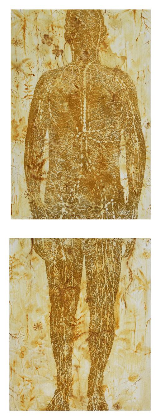 "Andrew Carnie, ""Sneeze"", 2017, pollen watercolour, 120cm x 55cm"