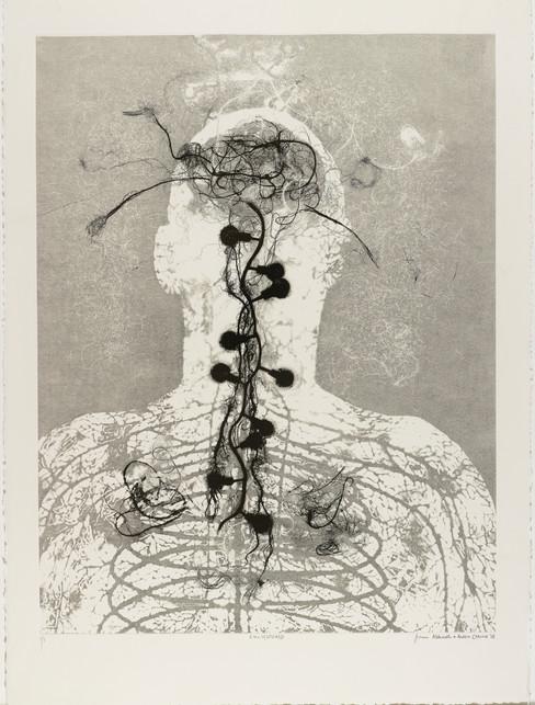"Andrew Carnie and Susan Aldworth, ""Enlightenment no 3"" 2015, monotype print, 80cm x 70cm"