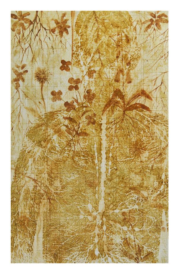 "Andrew Carnie, ""That Time"", 2017, pollen watercolour, 70cm x 55cm"