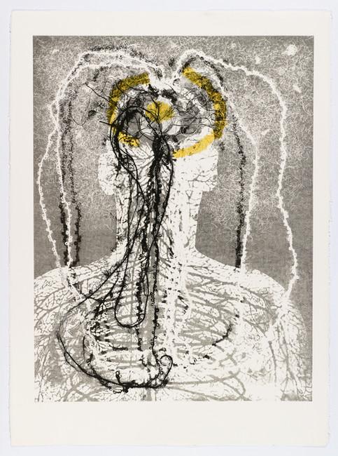 "Andrew Carnie and Susan Aldworth, ""Enlightenment no 8"" 2015, monotype print, 80cm x 70cm"