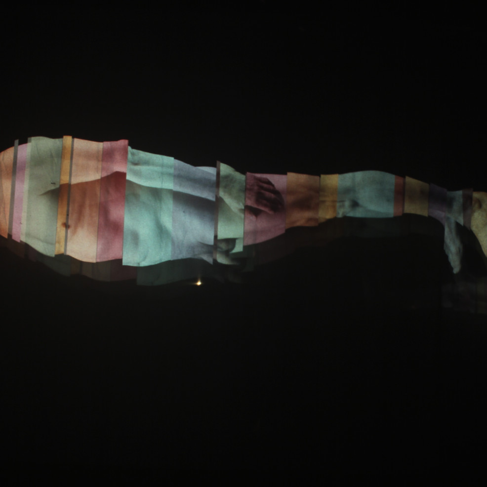 """Andrew Carnie, """"Fray Coming Away at The Ends"""" 2011, 35mm slide dissolve projection work, 6 projectors, voile screens, in 3 pairs, 8m x 16m x 3m, continuous loop"""
