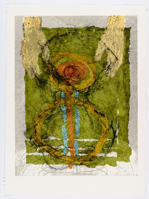 "Andrew Carnie and Susan Aldworth, ""Enlightenment no 20"" 2015, monotype print, 80cm x 70cm"