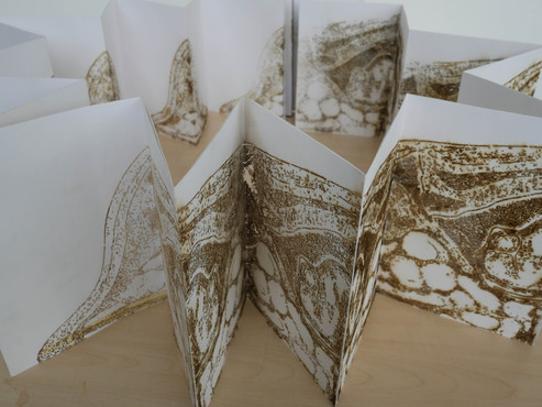 "Andrew Carnie, ""Unfolding Sheets"", 2018, 4 x A4 laser cut concertinaed paper, ink, dimensions variable"