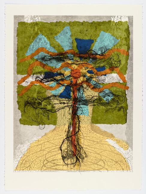 "Andrew Carnie and Susan Aldworth, ""Enlightenment no 12"" 2015, monotype print, 80cm x 70cm"