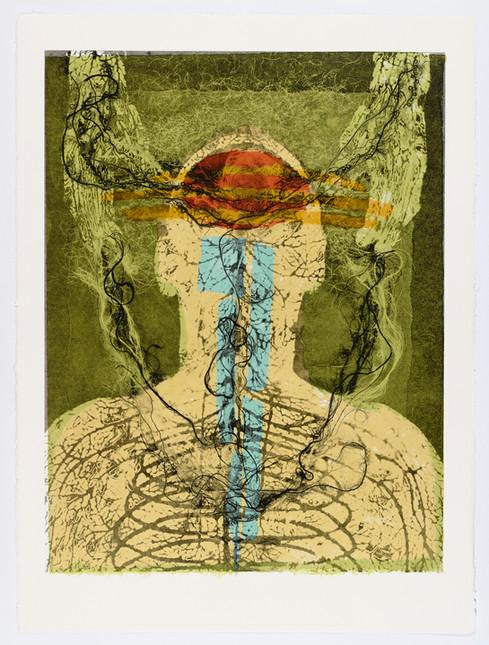 "Andrew Carnie and Susan Aldworth, ""Enlightenment no 17"" 2015, monotype print, 80cm x 70cm"