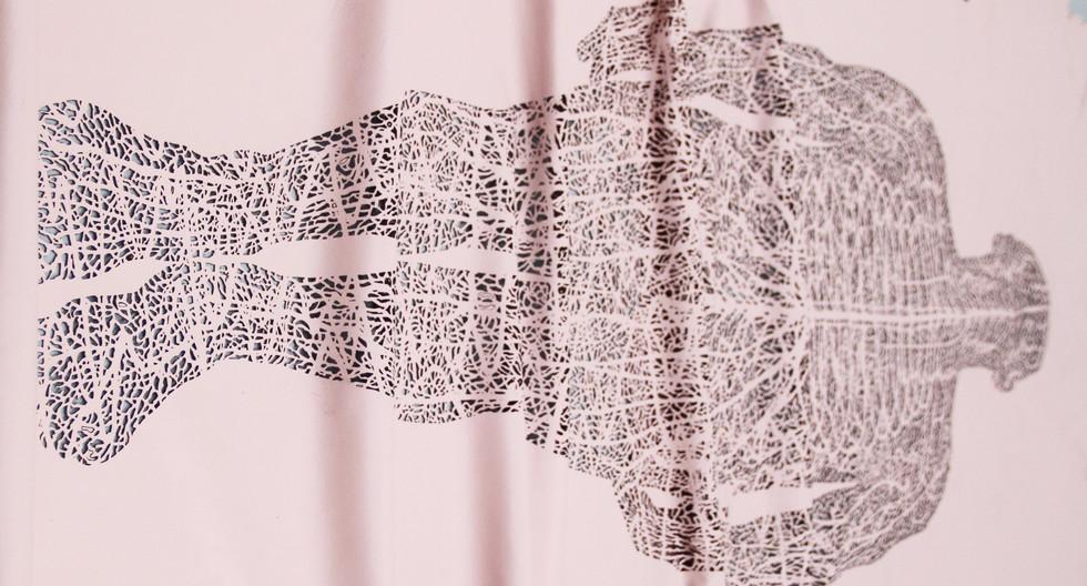"Andrew Carnie, ""Count"", 2017, laser cut lambskin, 3m x 1m"
