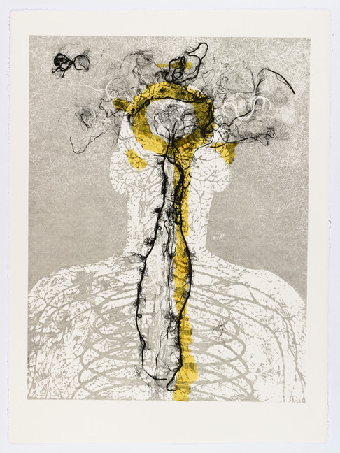 "Andrew Carnie and Susan Aldworth, ""Enlightenment no 6"" 2015, monotype print, 80cm x 70cm"