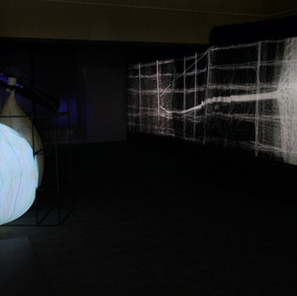 Andrew Carnie, 'Winter Garden' (installation view), 2020, garden frames, voile, meteorological balloons, and, sensors and fans, size variable