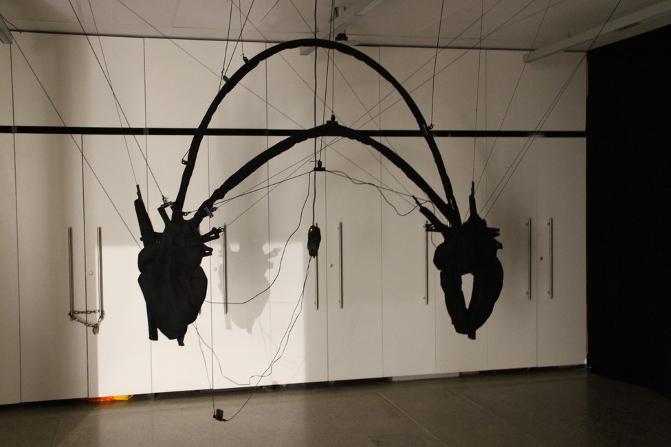 """Andrew Carnie , """"The Beat Goes On, 2014, sound work, two small active speakers and mp3 player, two black wool serge hearts, elastic and clips. Run time 25 mins"""