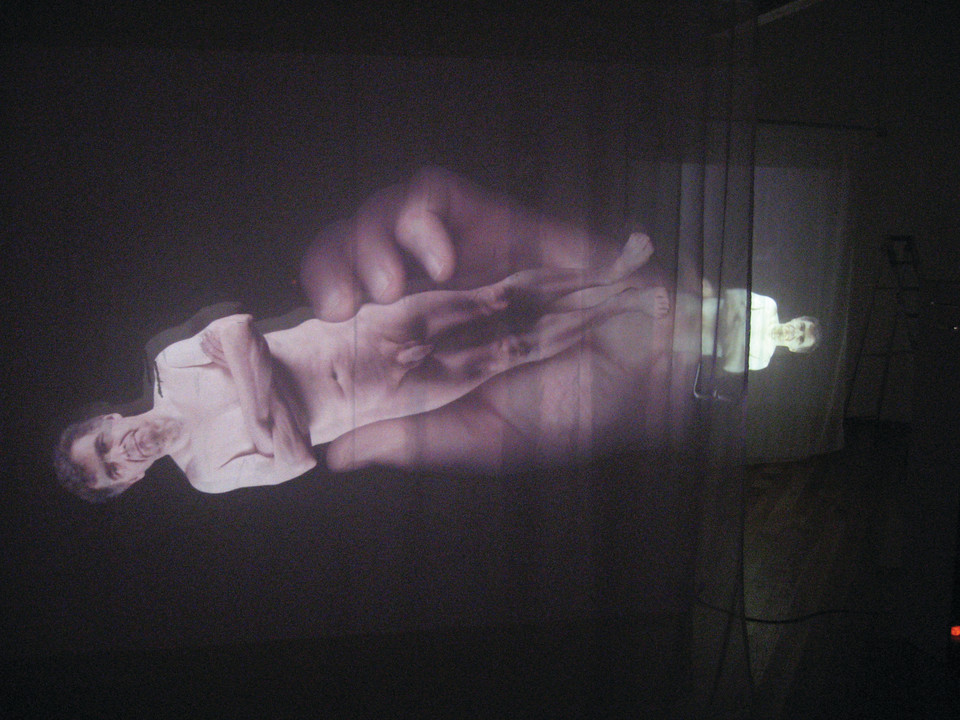"Andrew Carnie, ""Fray Coming Away at The Ends"" 2011, 35mm slide dissolve projection work, 6 projectors, voile screens, in 3 pairs, 8m x 16m x 3m, continuous loop"