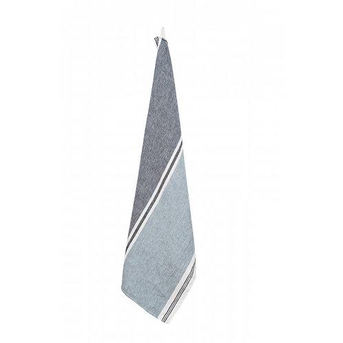 Trevise Washed Linen Teatowel in Light & Dark Blue Stripe