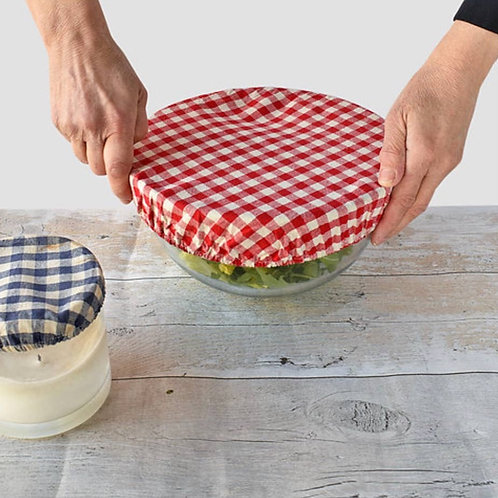 Set of 3 Red Gingham Food Storage Covers