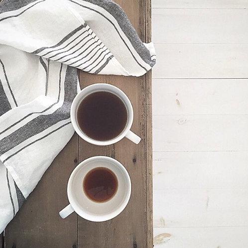 White & Grey Stripe Linen Tea Towel
