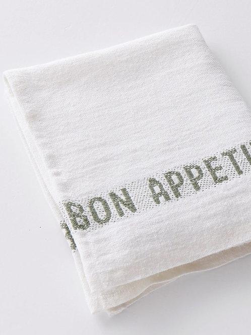 Bon Appetit Linen Napkin (Blanc/Kaki)