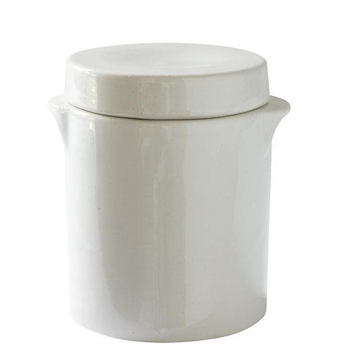 Manufacture de Digoin White Glazed Ceramic Jar