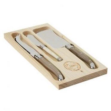 Laguiole Linen 3 Piece Cheese Knife Set