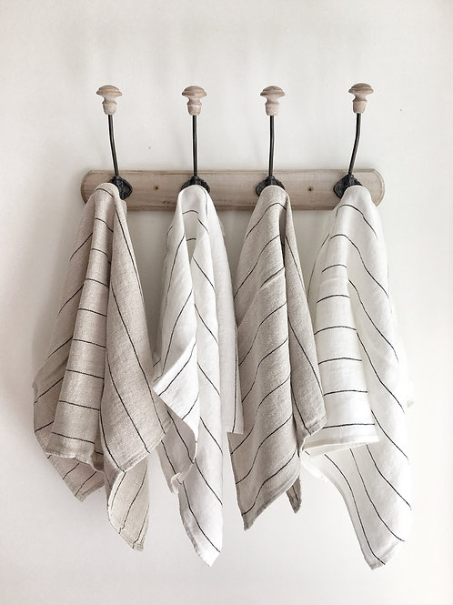 White/Black Stripe Linen Tea Towel