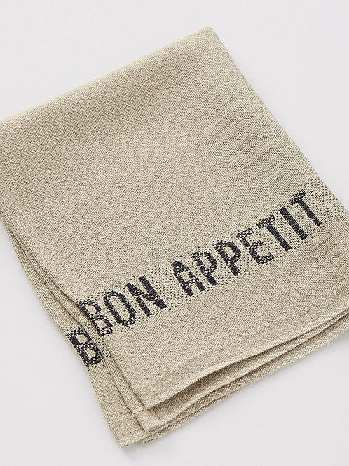 Bon Appetit Linen Napkin (Lin/Noir)