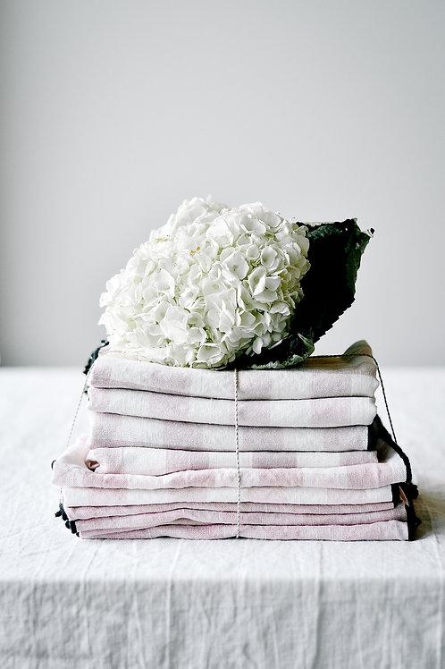 Blush Check Tea Towel by Maison De Vacances