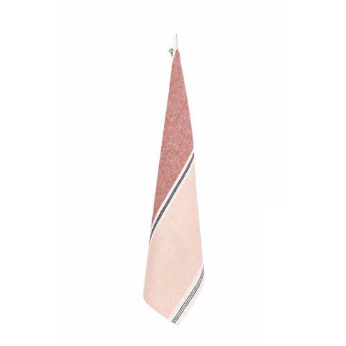 Pink & Red Stripe Linen TeaTowel