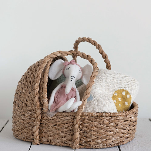 Handwoven Seagrass Doll Bassinet
