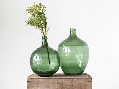 Green Glass Bottle Round