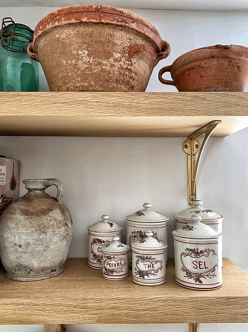 Antique French Ceramic Kitchen Canisters (set of six)
