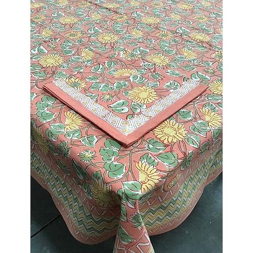 Sunflower Block Print Tablecloth