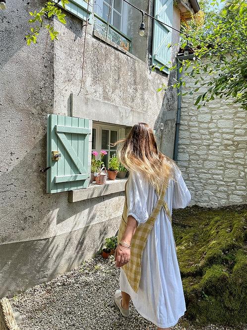 Yellow Check Maison de Vacances Linen Blend  Cross Back Apron