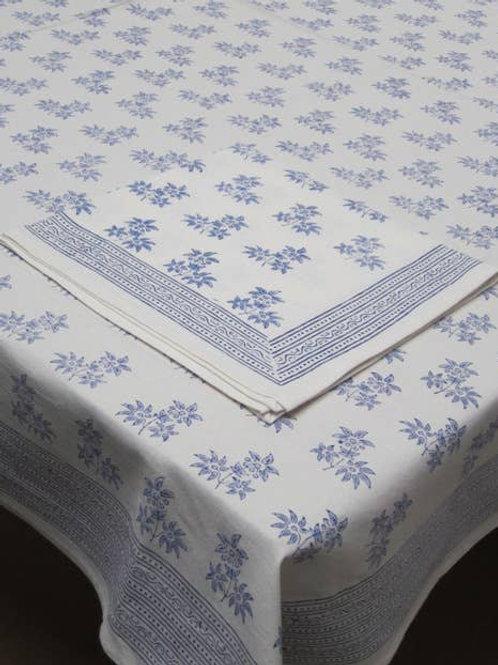 Blue Floral Block Print Tablecloth