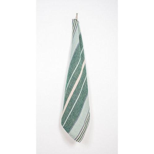 Green Stripe Linen Tea Towel