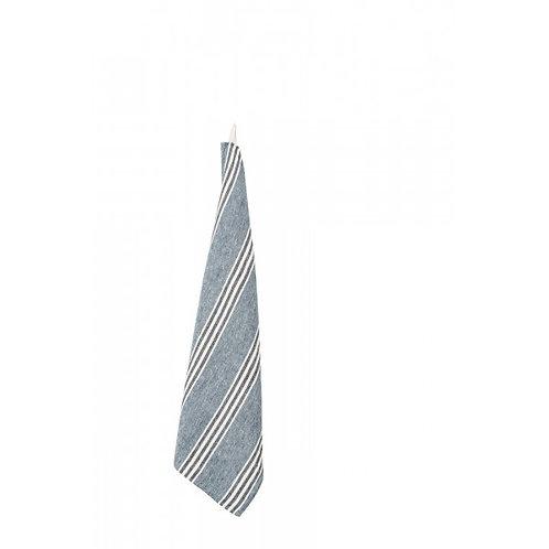 Navy Blue & White Stripe Linen Tea Towel