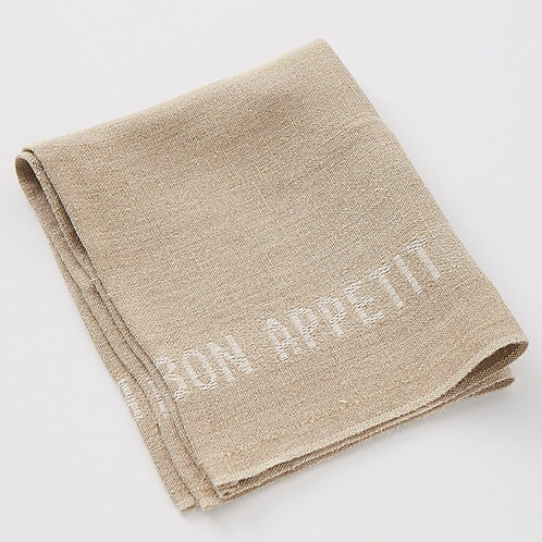 Bon Appetit Linen Napkin (Lin/Blanc)