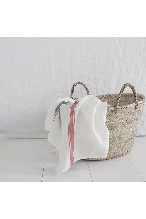 Traditional French White/Red Tea Towel