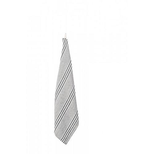 Stone & Black Stripe Linen TeaTowel