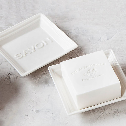 White Square Ceramic Savon Soap Dish