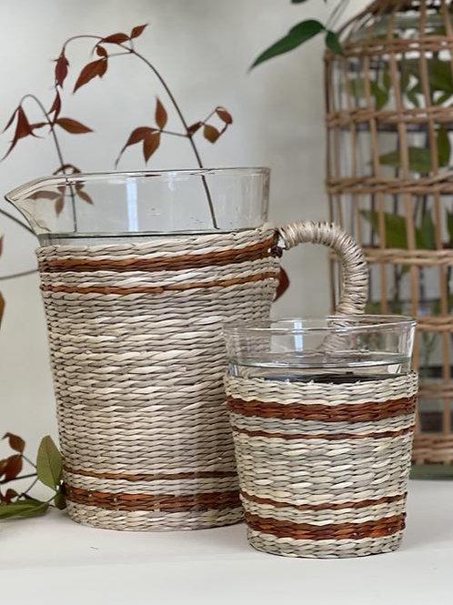 Mocha/Linen Stripe Seagrass Tumbler
