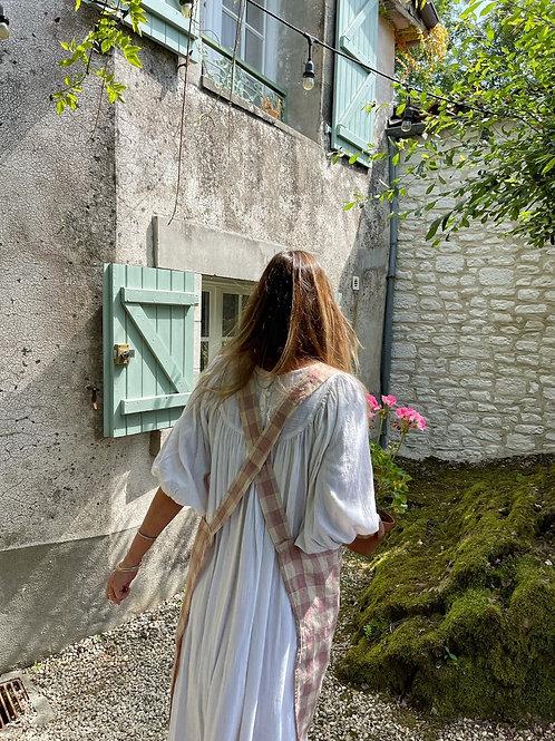 Rose Check Maison de Vacances Linen Blend Cross Back Apron