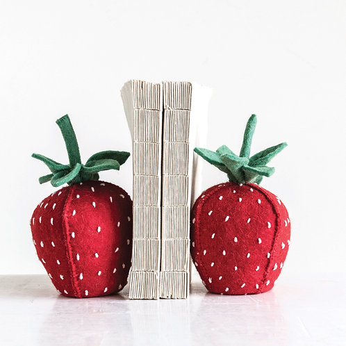 Felt Strawberry Bookends