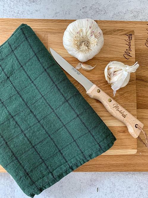 Dark Green/Black Check Linen Tea Towel
