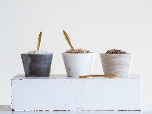 Marble Salt/Herb Pot with Brass Spoon