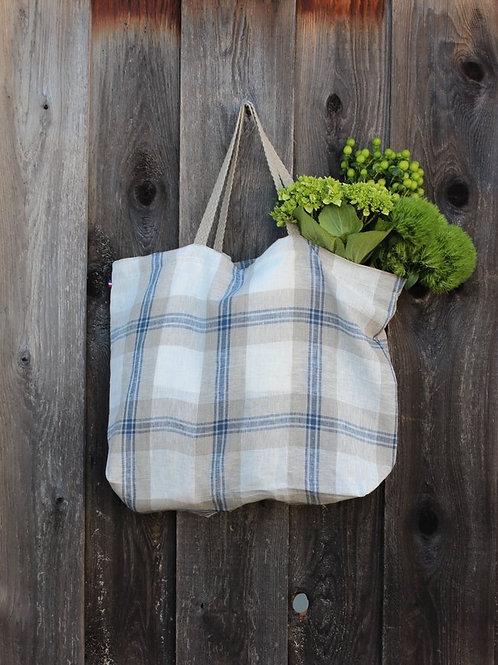 Cassandre Blue Plaid Thieffry Linen Shopping Bag